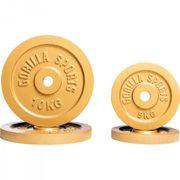 Gorilla Sports - Lot de 4 poids Couleur Or avec diamètre de 30mm 2 x 5kg et 2 x 10kg