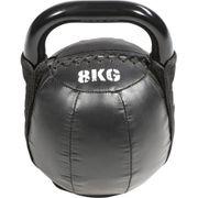 Kettlebell Fonte et Cuir Noir 4kg à 10Kg Gorilla Sports