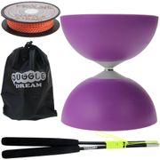 Kit Diabolo Circus aluminium violet avec baguettes superglass, rouleau de ficelle et sac de rangement