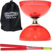 Kit diabolo Cyclone Quartz rouge + baguettes superglass + sac de rangement