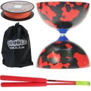 Kit diabolo Jester noir et rouge + baguettes superglass + sac de rangement