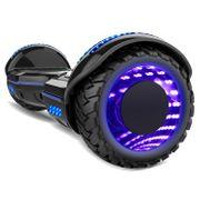 COOL&FUN Hoverboard Gyropode Bluetooth 6.5 pouces, Roues lumineuses à LED de couleur et Bande de LED, Noir