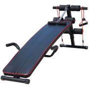 Banc de musculation appareil à abdo hauteur réglable 135L x 57l x 50-68H cm 2 bandes de résistances + ressort central traction acier noir rouge