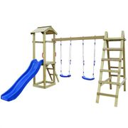 Balançoires et portiques Superbe Maison de jeu et toboggan échelles balançoires 286x237x218 Pin