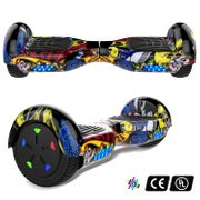 Cool&Fun Hoverboard 6.5 Pouces avec Bluetooth Hip + Hoverkart Hip, Gyropode Overboard Smart Scooter certifié, Pneu à LED de couleur, Kit kart