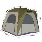 Tente de camping familiale 4-5 personnes montage instantanée pop-up 4 fenêtres pare-soleil dim. 2,4L x 2,4l x 1,95H m fibre verre polyester vert gris