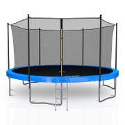 Classique 14Ft / ø424cm  Pack trampoline de jardin avec Filet intérieur, mousse de protection, échelle et tapis de saut - Bleu