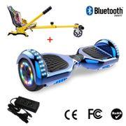 Cool&Fun Hoverboard 6.5 Pouces avec Bluetooth Bleu + Hoverkart Hip, Gyropode Overboard Smart Scooter certifié, Pneu à LED de couleur, Kit kart