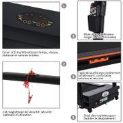 Tapis roulant électrique de marche 370 W pliable télécommande écran LCD vitesse 1-6 Km/h acier noir neuf 31