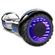 COOL&FUN Hoverboard Gyropode Bluetooth 6.5 pouces, Roues lumineuses à LED de couleur et Bande de LED, Argent Chromé