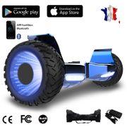 Hoverboard bluetooth tout terrain 8.5 pouces, Gyropode Hummer SUV 4x4 Challenger, Roues Lumineuses à LED, Bluetooth + App de contrôle + Sac de transport, Bleu chromé