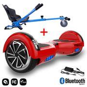 Mega Motion Hoverboard bluetooth 6.5 pouces, M1 Rouge + Hoverkart bleu, Gyropode Overboard Smart Scooter certifié, Kit kart