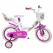 Vélo Micol 14 pouces fille avec panier, siège poupée et roulettes amovibles