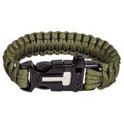 Bracelet paracorde pierre à feu et sifflet Highlander vert