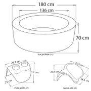 Pack spa rond gonflable SILVER CLOUD - 4 places - anthracite/intérieur gris + 2 appuie-tête et 1 porte-gobelets