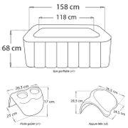 Pack spa carré gonflable ALPINE - 4 places - anthracite/intérieur gris + 2 appuie-tête