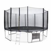 Trampoline de jardin Neptune XXL 460cm gris et filet de protection, échelle, bâche, filet chaussures, kit d'ancrage 460 cm 4m