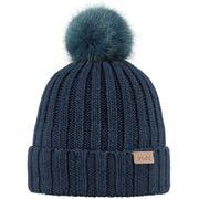BARTS-Bonnet bleu marine coton et cashmere à pompon imitation fourrure du 4 au 12 ans modèle linda Barts