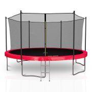 Classique 14Ft / ø424cm  Pack trampoline de jardin avec Filet intérieur, mousse de protection, échelle et tapis de saut - Rouge
