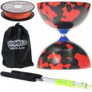 Kit diabolo Jester noir et rouge + baguettes aluminium + ficelle + sac de rangement