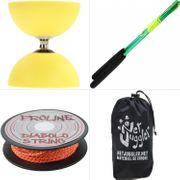 Diabolo Orbiter Roulements Jaune + Bag Alu Vert + Ficelle 10m Orange + Sac