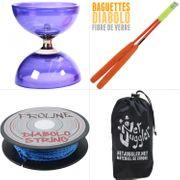 Diabolo Quartz V2 Violet + Baguettes Superglass Orange + Ficelle Bleu + Sac