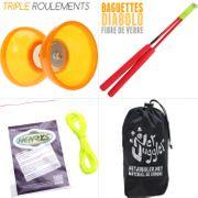 Diabolo Quartz V2 Orange + Superglass Rouge + 10m Ficelle Henrys Jaune + Sac