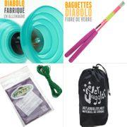 Diabolo Beach Free Turquoise + baguettes rose + Ficelle Henrys Vert + Sac