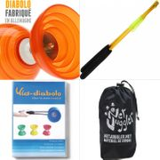 Diabolo Beach Free Orange + Baguettes Alu  doré + DVD + Sac