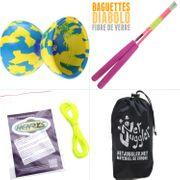 Diabolo Jester Jaune et Bleu + Bag Superglass rose + 10m Ficelle Jaune + Sac