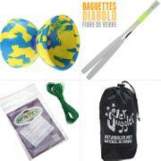 Diabolo Jester Jaune et Bleu + Bag Superglass Blanc + 10m Ficelle Vert + Sac