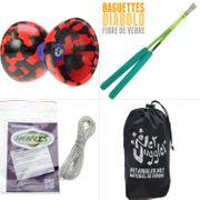 Diabolo Jester Rouge et Noir + Bag Superglass Vert + 10m Ficelle Blanc + Sac