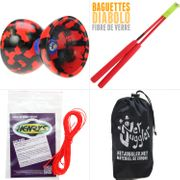 Diabolo Jester Rouge et Noir + Bag Superglass Rouge + 10m Ficelle Orange + Sac