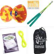 Diabolo Jester Jaune et Rouge + Bag Superglass Vert + 10m Ficelle Jaune + Sac
