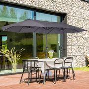Parasol de jardin XXL parasol grande taille 4,6L x 2,7l x 2,4H cm ouverture fermeture manivelle acier polyester haute densité gris