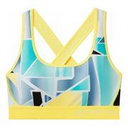 Under Armour - Armour Mid Crossback Print Femmes brassiere (jaune/gris)