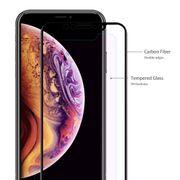 Housse coque de protection -  0,2 mm 9H 3D Anti Blue-ray en Plein Écran en Fibre de Carbone en Verre Trempé Film pour iPhone XS Max(Noir)