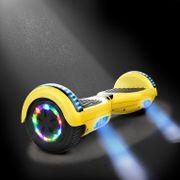Cool&Fun Hoverboard 6.5 Pouces, Gyropode avec Bluetooth et Pneu à LED de couleur, Overboard Certifé CE, UL, Jaune