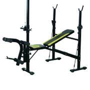Banc de musculation Fitness entrainement complet dossier réglable cordes traction curler supports barre et haltères noir et jaune neuf 34
