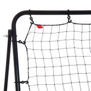 Filet de rebond de football hauteur réglable dim. 112L x 108l x 130-150H avec piquets d'ancrage + cible acier époxy noir 01