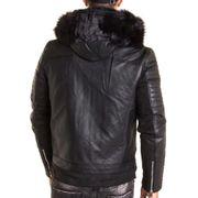 dc5e37bb8163 Veste blouson noir QQ501 simili cuir à capuche fausse fourrure noir