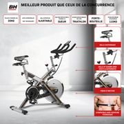 MKT JET BIKE PRO H9162RFFR Vélo de biking. Frein à friction. Volant d'inertie 22 kg. Transmission courroie Poly-V - Gris Argenté
