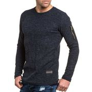 Pullover navy maille homme poche zippée fashion