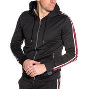 Veste capuche noir ajustée bandes latérales Homme