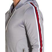 Veste capuche grise ajustée bandes latérales