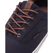 Basket basse casual bleu navy lacet marron