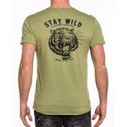 T-shirt homme kaki imprimé et brodé wild