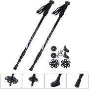 2 Bâtons de marche nordique alliage aluminium noir anti-chocs noir réglable de 65 à 135 cm Helloshop26 0712007