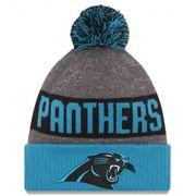 Bonnet Pompon New Era Sideline Bob Carolina Panthers Bleu Gris Doublé Polaire Sport Knit