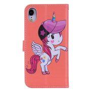 Étui en cuir-Etui à rabat horizontal en cuir avec motif Unicorn pour iPhone XR, avec support et miroir, fente pour carte et portefeuille et dragonne